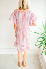Beach Day Stripe V Dress