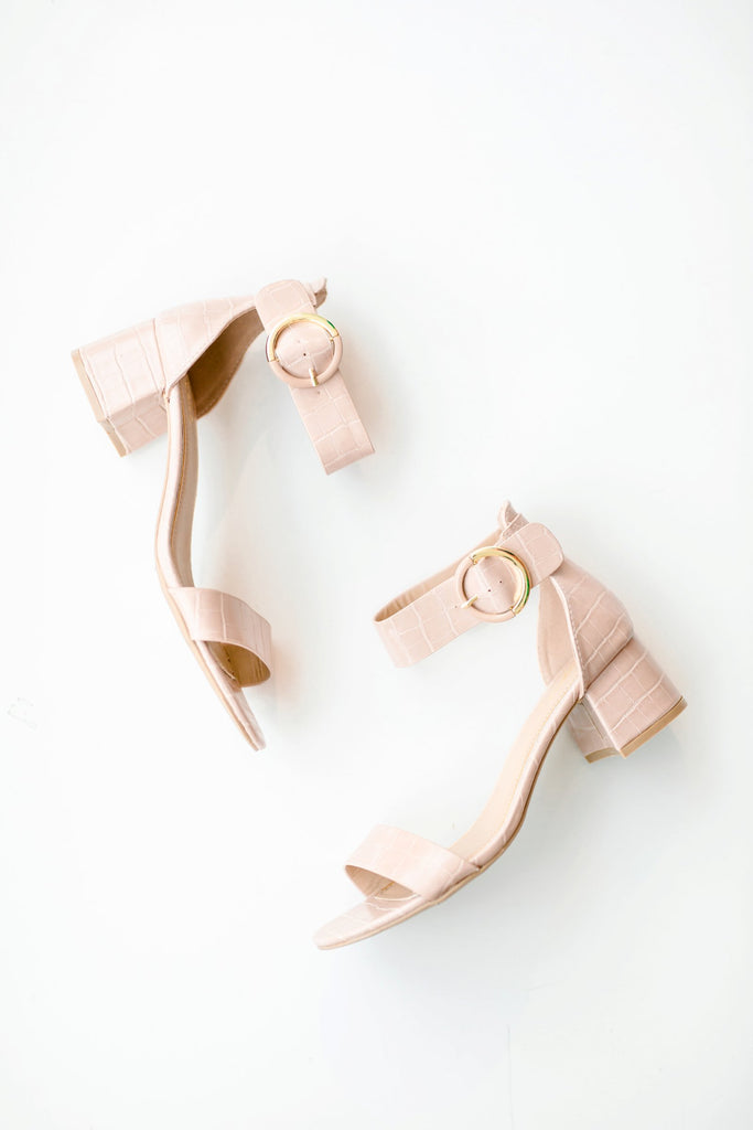 A Step Ahead Croc Buckle Heel