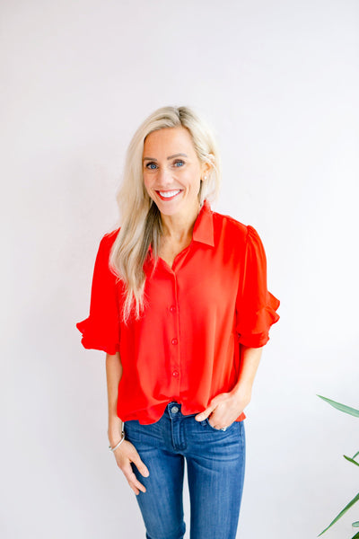 Raylan Button Up Ruffle Blouse - Red