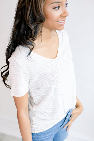 Wear it Around Slub Scoop Neck Tee - Oatmeal