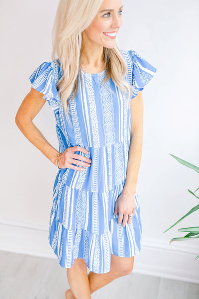 Waterfall Aztec Print Babydoll Dress