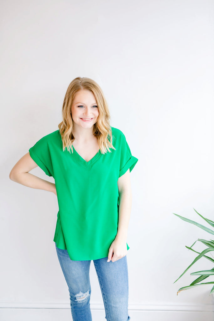 Lucky You Basic V Neck Top