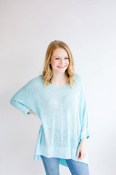 Spring Calling Sweater Top - Aqua