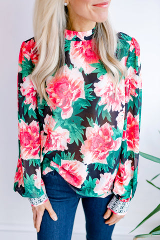 Jaylon Floral High Neck Top
