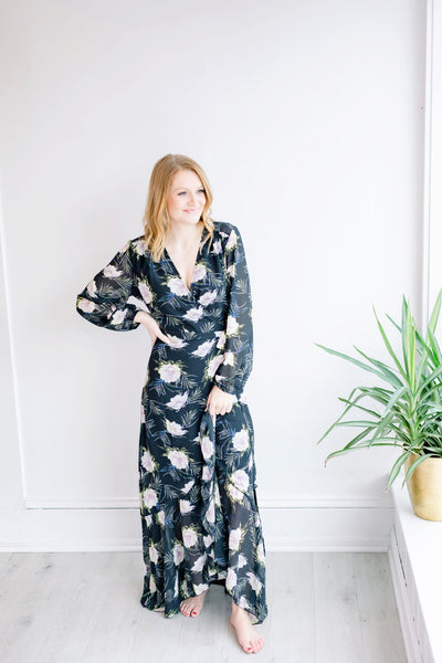 Spring Showers Long Sleeve Wrap Maxi