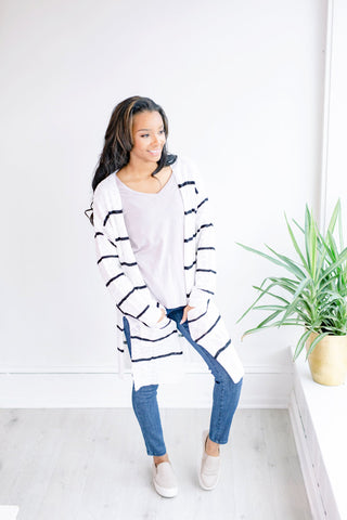 Abigail Striped Open Cardigan - Black