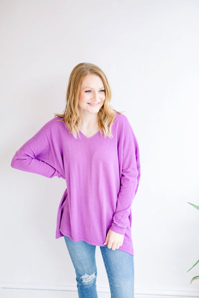 Because of You Casual Sweater - Purple