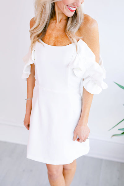 Honeymoon Vibes Off the Shoulder Dress - White