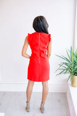 Red as a Rose Ruffle Sleeve Dress