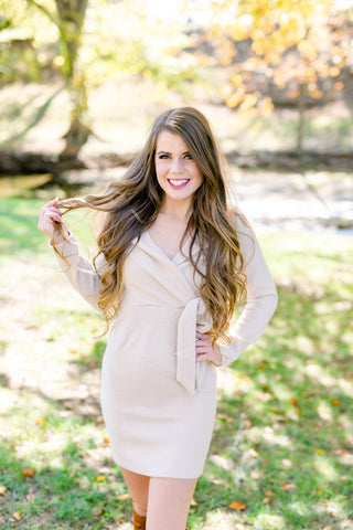 Glowing Side Tie Dress - Taupe