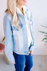 Uptown Distressed Denim Jacket - Light Denim