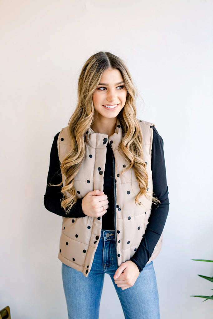 Dots on Dots Puffer Vest