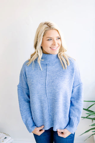 Enjoy Your Company Turtleneck Sweater - Blue