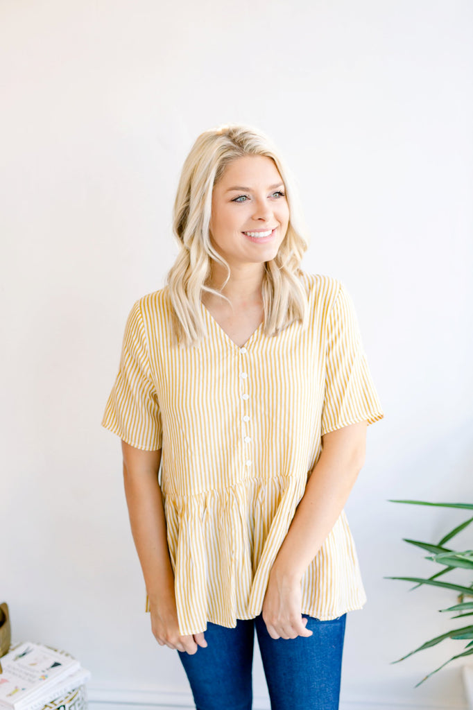 Golden Hour Striped Peplum Top