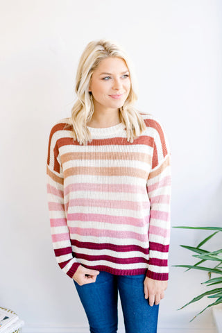 Spring into Warmth Striped Sweater - Rust