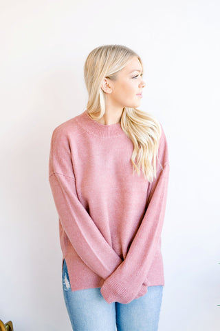 Harrison Mauve Mock Neck Sweater