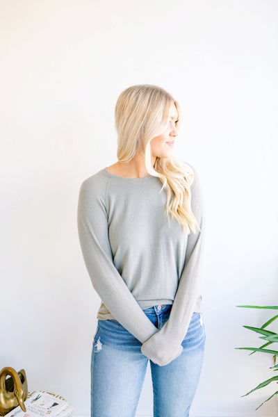 Under the Radar Soft Crew Neck Long Sleeve Top - Olive