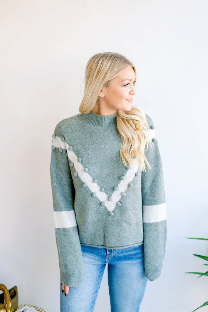 Green Means Go Pom Pom Sweater