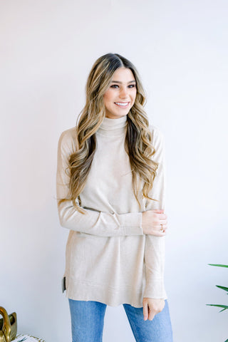 Heather Turtleneck with Side Notches