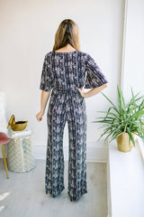 Madison Patterned Jumpsuit - Black