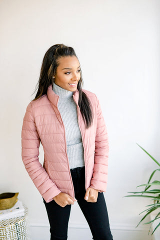 All Winter Long Puff Jacket - Mauve