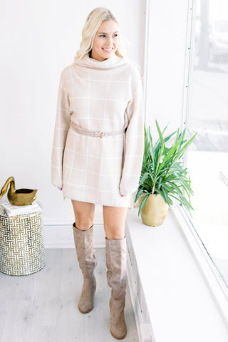 On the Grid Sweater Dress
