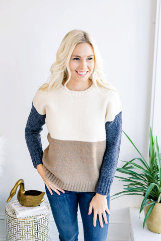 Carlee Longsleeve Knit Colorblock Sweater