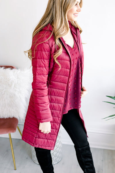 All Winter Long Longline Coat - Wine