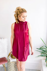 Simple as Can Be Mock Neck Dress - Burgundy