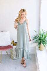 Dancing Leaves Midi Dress - Olive
