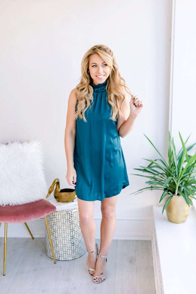 Simple as Can Be Mock Neck Dress - Teal