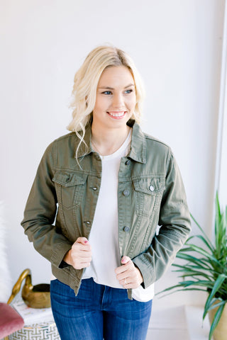 In a Perfect World Denim Jacket - Olive