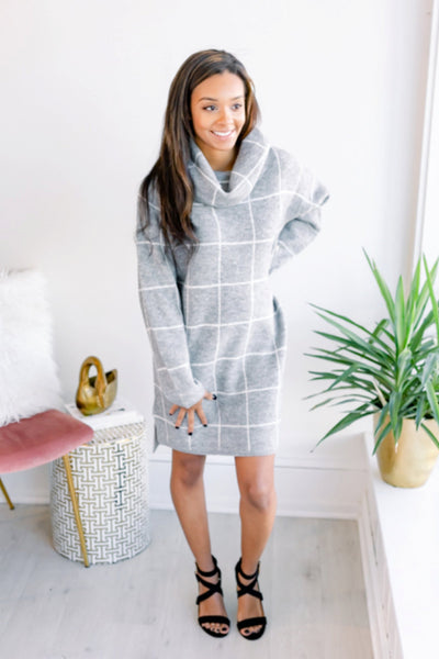 On the Grid Sweater Dress - Grey