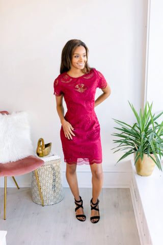 Cosmo Short Sleeve Lace Dress