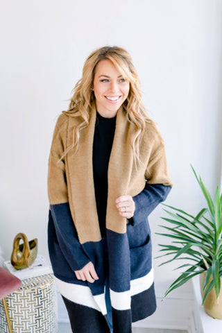 Heidi Colorblock Pocket Cardigan