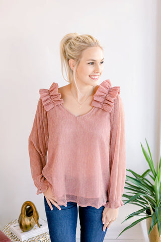 Crossroads Ruffle Sleeve Shimmer Top