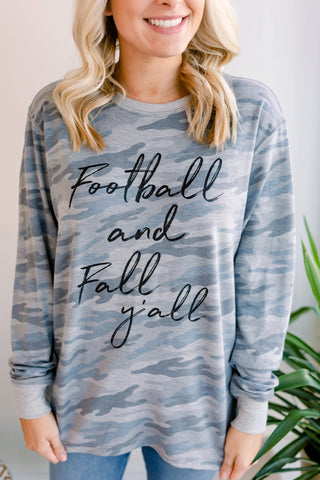 Football and Fall Y'All Graphic Top