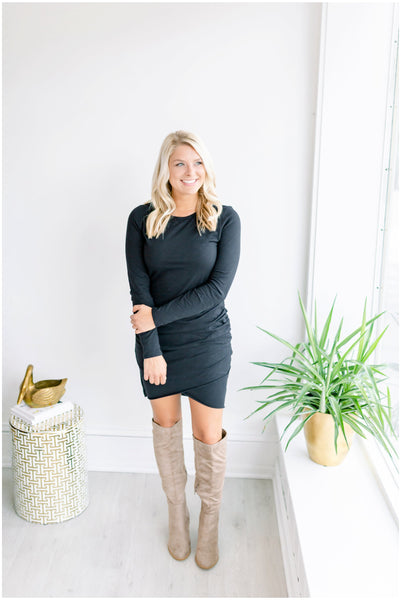 Riley Long Sleeve Side Ruched Dress