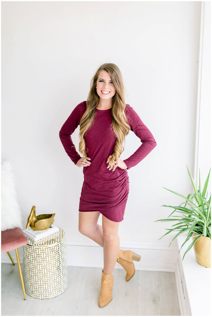 Riley Long Sleeve Side Ruched Dress - Wine