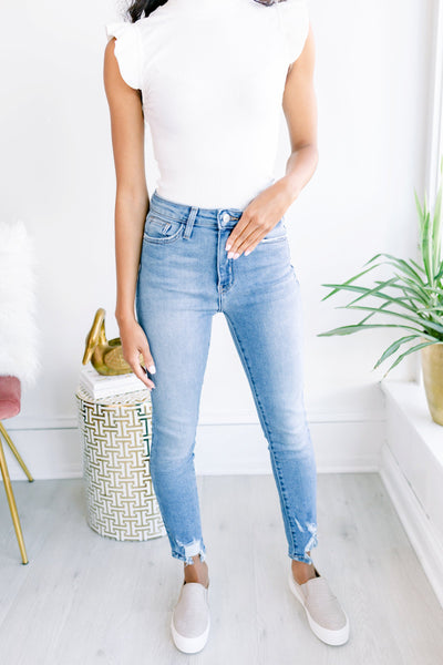 Libby Skinny with Hem Bite - Medium Denim