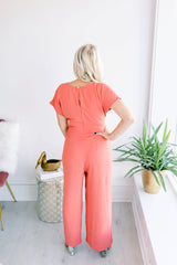 Falling in Love front Tie Jumpsuit - Blush