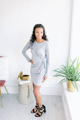 Most Days Basic Tied Tshirt Dress - Heather