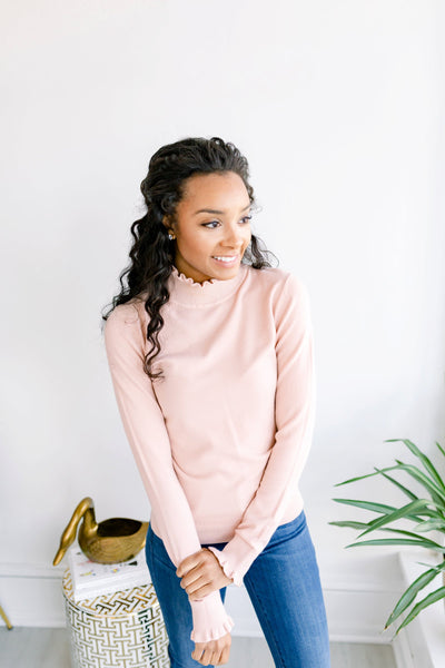 Bedtime Stories Ruffle Hem Sweater - Lt. Pink