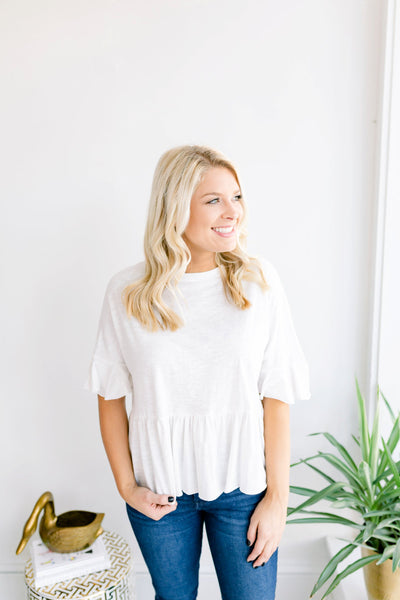 Brit Butterfly Sleeve Top - Ivory