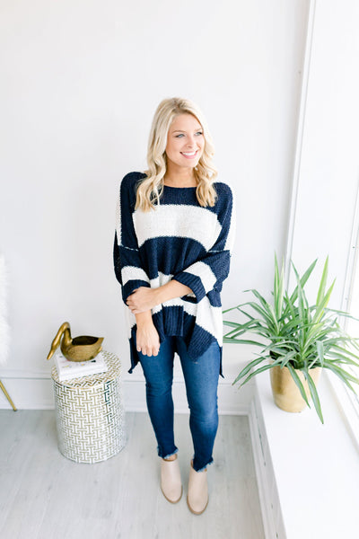 Julie 3/4 Cuffed Sleeve Striped Sweater