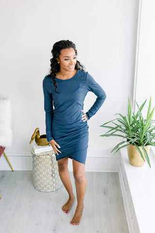 Riley Long Sleeve Side Ruched Dress - Navy