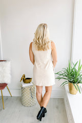 Seeing Double Suede Mock Neck Dress - Cream
