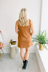 Seeing Double Suede Mock Neck Dress - Camel