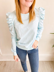 Gameday Puff Sleeve Top - Baby Blue