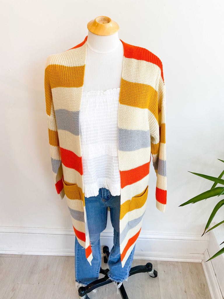High Society Open Stripe Cardigan